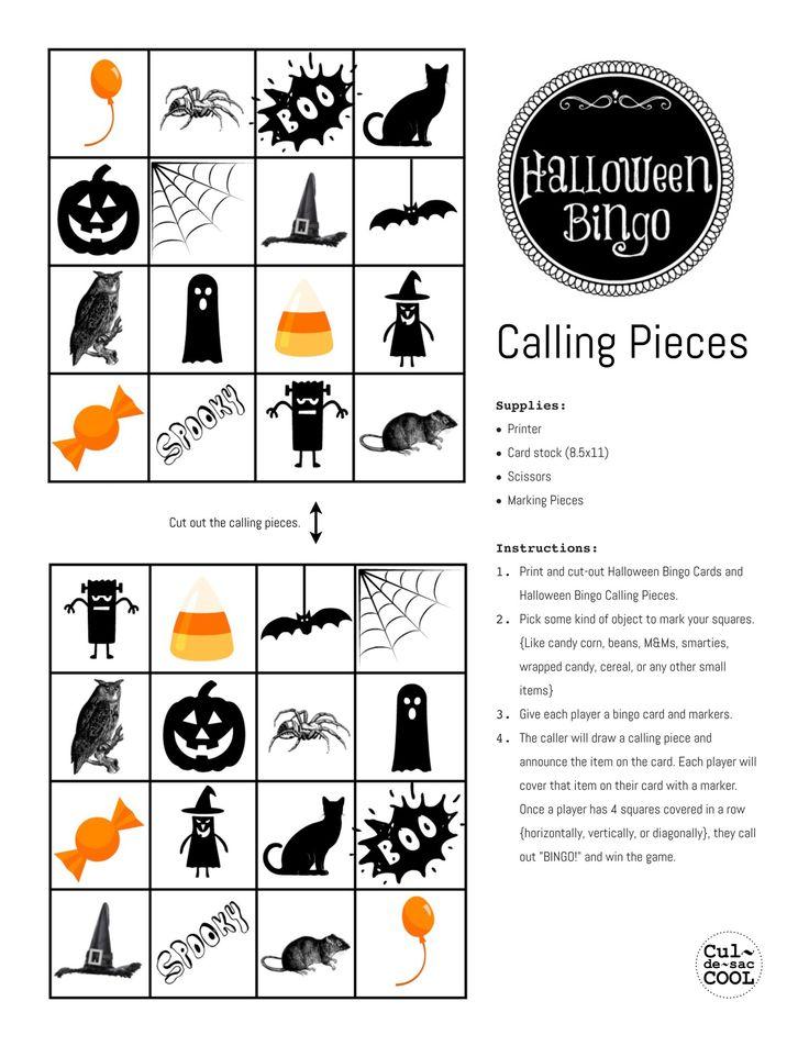 Halloween Bingo Calling Pieces och många fler tips för en halloweenfest för barn.