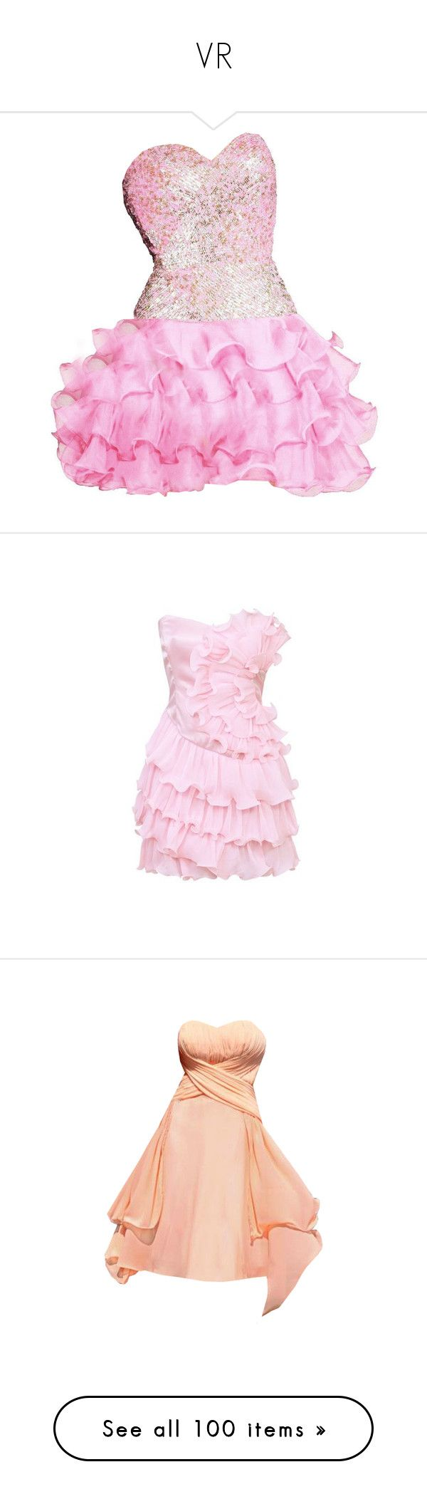 """VR"" by anabellaaaa ❤ liked on Polyvore featuring vestidos, dresses, short dresses, pink, short cocktail party dresses, pink mini dress, going out dresses, pink party dresses, tiered cocktail dress and red dress"