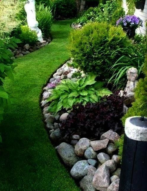 Easy And Simple Landscaping Ideas And Garden Designs Drawing Cheap Pool Landscaping Ide Rock Garden Landscaping Front Yard Landscaping Design River Rock Garden