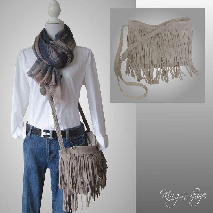 BAG Tasche / Schultertasche / Tragetasche / Handtasche Wildleder FRANSEN - grau