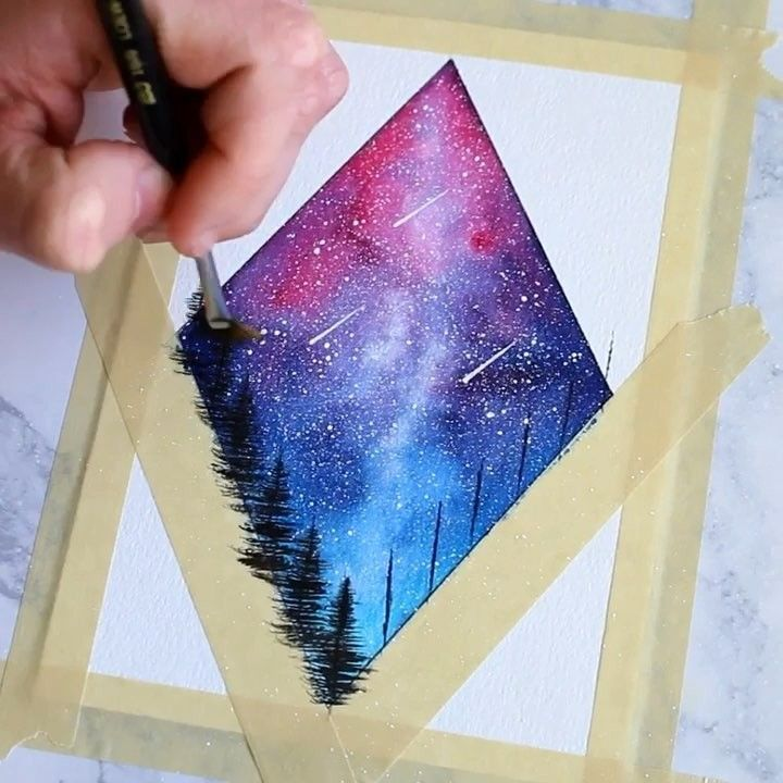 "9,469 Likes, 152 Comments - Humby Art (@humbyart) on Instagram: ""Here is a process video showing how I painted a pink and blue diamond night sky! I know I have done…"""