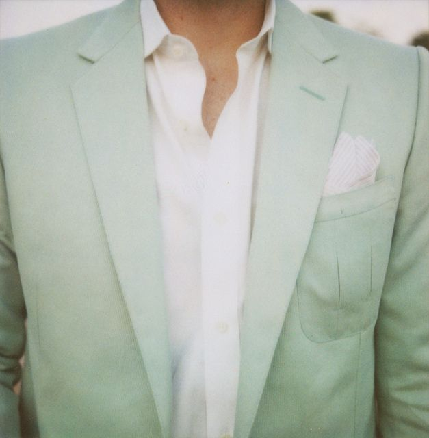 mint tux. Wow. That would probably be too much mint for my wedding. This is gorgeous though.