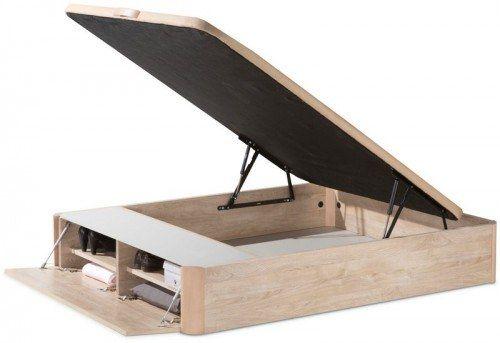Útil y versátil canapé abatible de madera con zapatero en el frente