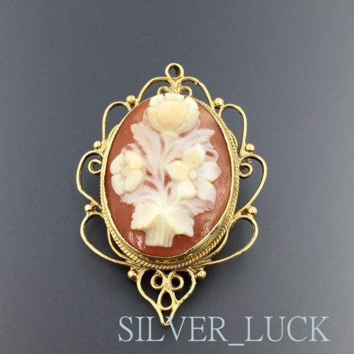 14K-YELLOW-GOLD-OVAL-FLORAL-CAMEO-ORNATE-PENDANT-BROOCH-PIN-COMBO-3524