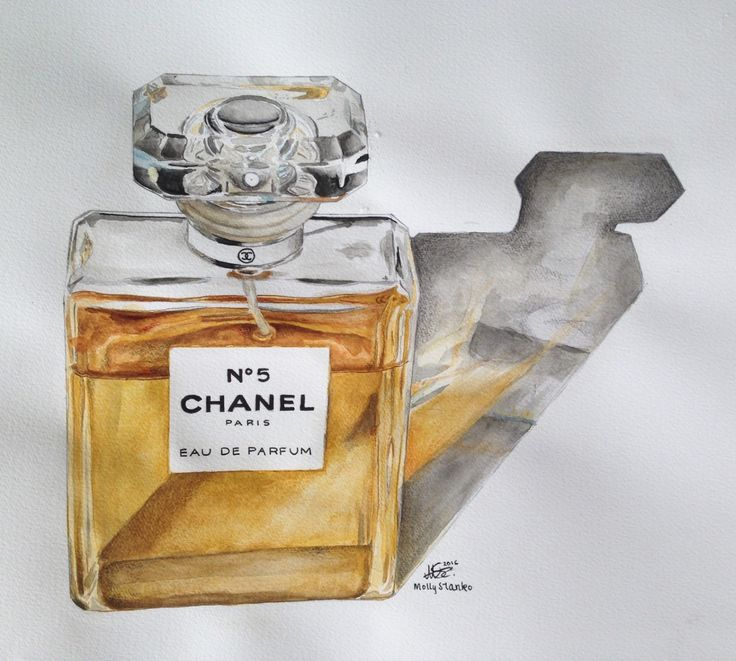 Chanel No.5 (Version 2) - created with watercolours and touch ups done with Faber Castell Polychromos  By Mollie Stanko, check out more of her work at https://www.instagram.com/matte.molly/