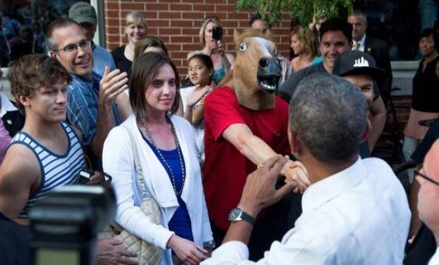 Barry Obama's Excellent Adventure in the Pot Mecca of Denver: Horse Masks, Gorilla Fist Bumps  Weed