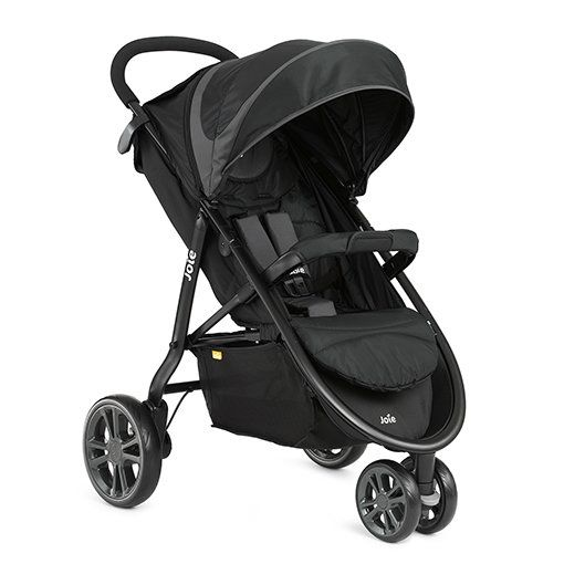Joie Litetrax 3 Wheel Stroller and Cupholder (inc. Footmuff) - Midnight. On sale this week only!