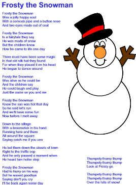 Christmas songs:  Frosty the Snowman