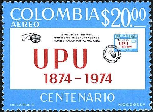Bélyeg: Envelope with appropriate inscription and brand MiNr. 1271 (Kolumbia) (100 years Universal Postal Union (UPU)) Mi:CO 1271,Sn:CO C598,Yt:CO PA576