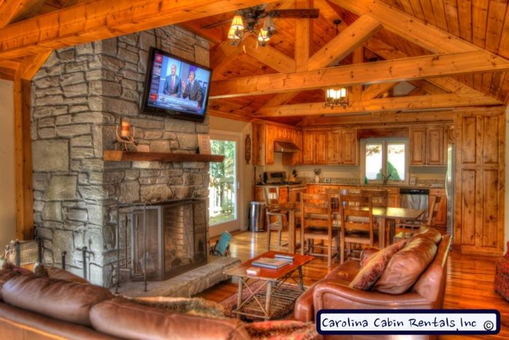 Great Room with Leather, Flat Screen, Stacked Stone and Timbers