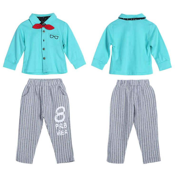 New Arrival Fashion Baby Kids Toddlers Long Sleeve Bowknot Shirt Tops Striped Pants 2pcs Spring Autumn Outfit Set For 1-4Y