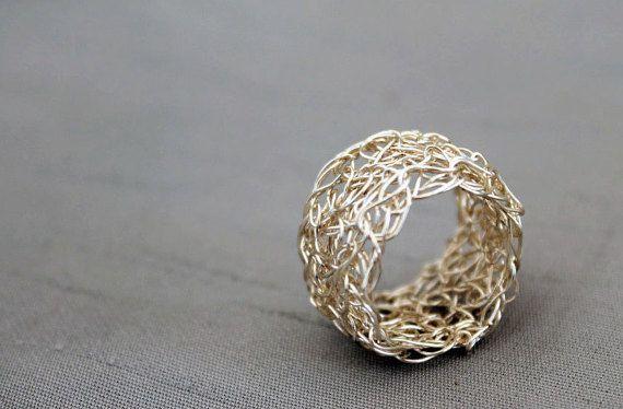 Silver wire crochet ring wire crochet jewellery by AlbaWirework