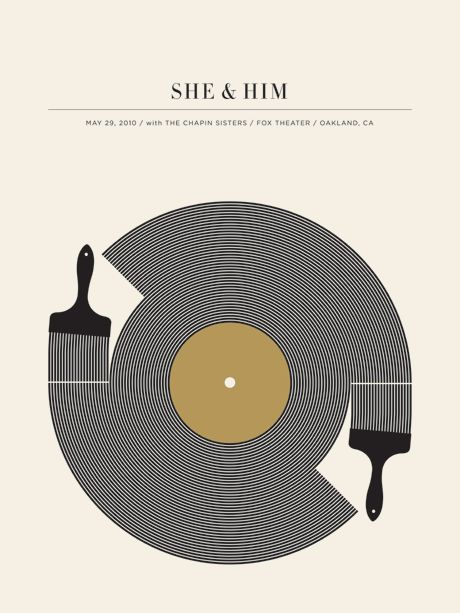 Jason Munn - She & Him Poster -- I'm a sucker for anything to do with records.