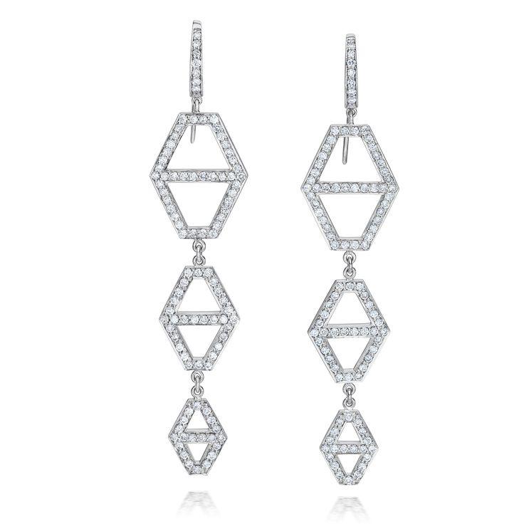 Walters Faith Keynes 18K Three Drop Diamond Hexagon Earrings eBHhe