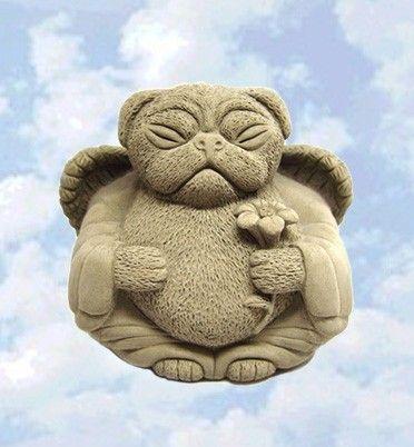 Angel PUG DOG Sculpture Memorial Cast Stone Art By By TyberKatz, $45.95