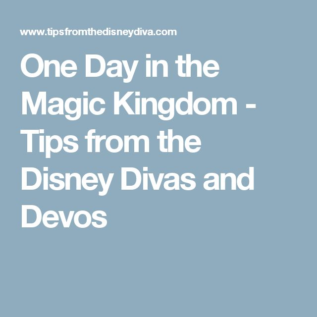 One Day in the Magic Kingdom - Tips from the Disney Divas and Devos