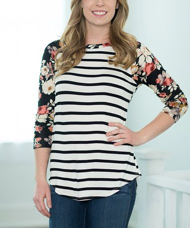 Another great find on #zulily! Black Floral & Stripe Tunic #zulilyfinds
