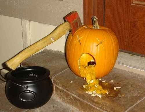Axed Pumpkin clearly has bigger problems than his alcoholism. | 28 Pumpkins Who Are Clearly Alcoholics