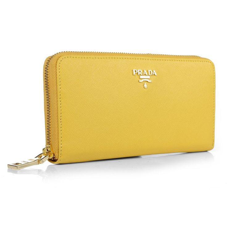 Prada Lemon Yellow Saffiano Calfskin Leather Zipper Wallet       $119.00