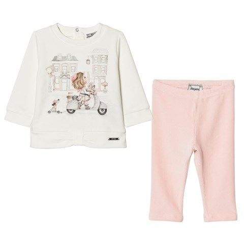 Mayoral White Girl on Scooter Tee and Pink Leggings Set