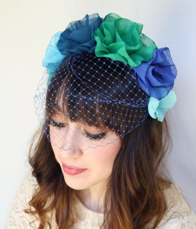 Miss Lynette - Flower Headband with Veil. $36,00, via Etsy.