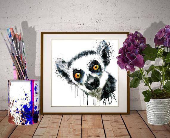 Cute Lemur Head Instant Download Printable Art Watercolor Portrait