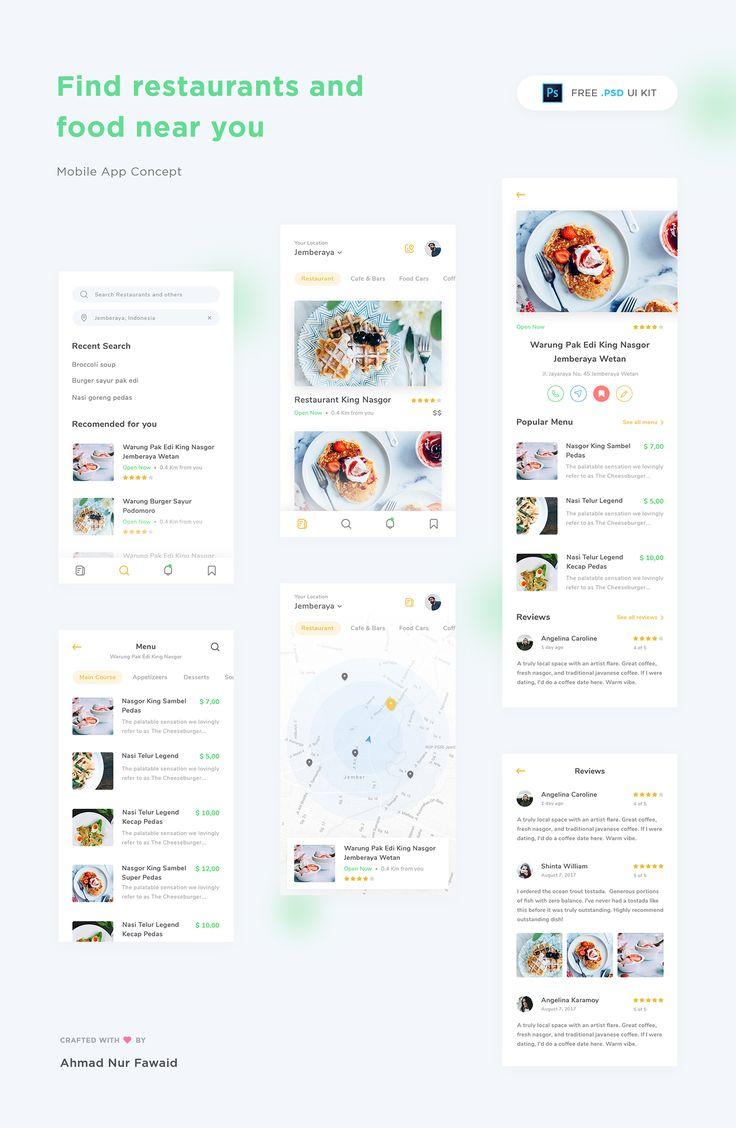 Restaurant App Free UI Kit PSD