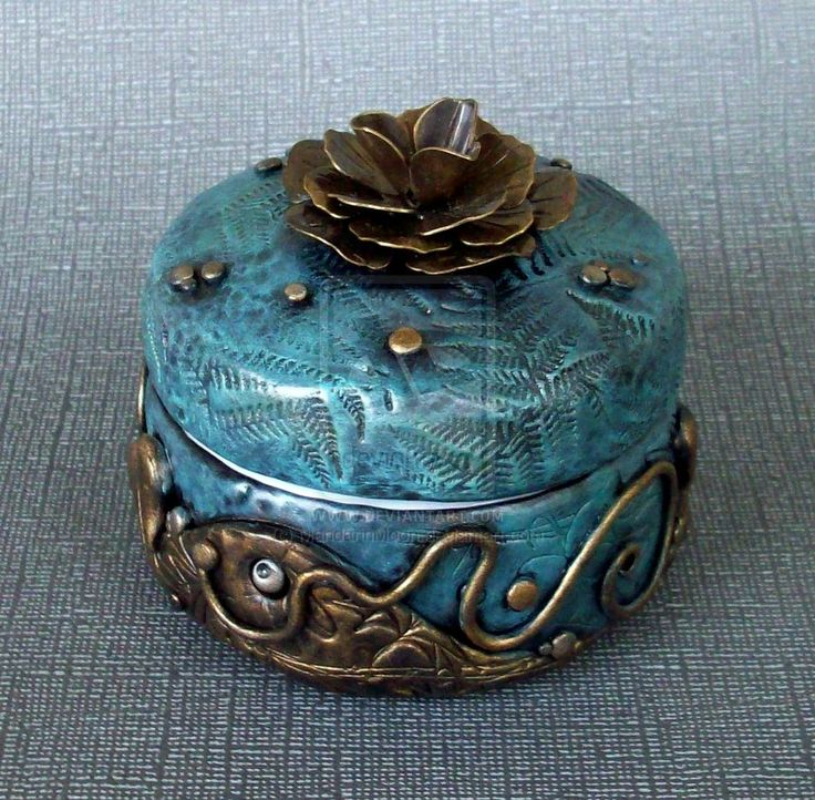 Blue Gold Rose Trinket Box by MandarinMoon.deviantart.com on @deviantART