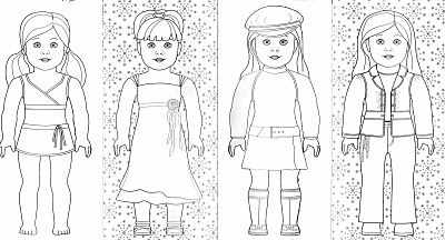 coloring pages featuring American Girl and Bitty Baby fashions