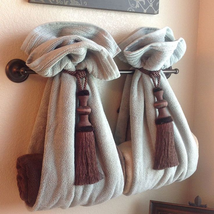 Diy Decorative Bath Towel Storage Inspiration Using Two Drapery Tassels Secure Two Towels