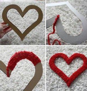 Decoratiehart maken van karton en wol. Ook leuk om te maken in grijs (landelijke stijl)