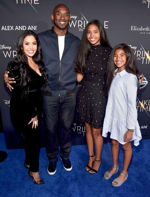 Slide 92 of 110: Kobe Bryant and wife Vanessa bring daughters Natalia and Gianna to the L.A. premiere of A Wrinkle in Time on Monday.