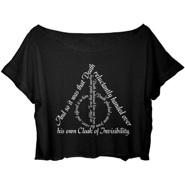 Amazon.com: ASA Women's Crop Top Harry Potter Quotes Shirt Chronicles... ($17) ❤ liked on Polyvore featuring tops, t-shirts, crop shirts, shirts & tops, black crop top, black tee and black t shirt