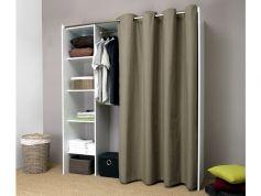 Armario vestidor extensible AUBIN - Blanco con cortina gris topo