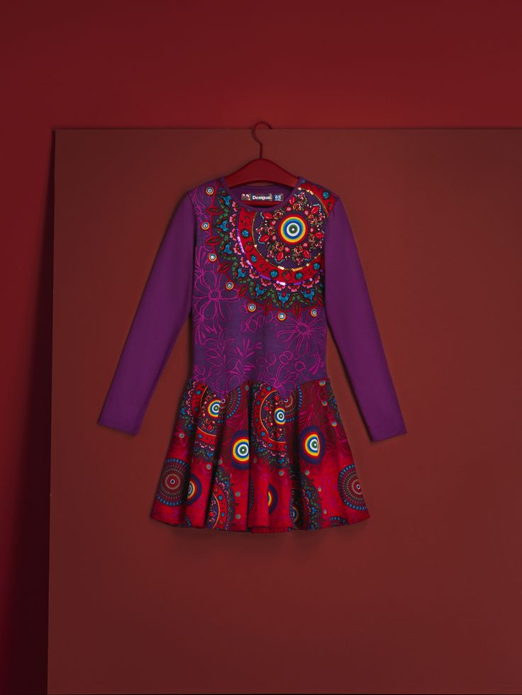 Don't say no to this long-sleeved lilac and red dress with a magical floral print and sequins.