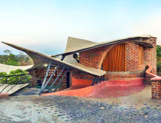 Brick House, iStudio Architecture, Wada, Mumbai, India, local materials, locally sourced materials, natural light, brick, stone, wood, bamboo, ferro-concrete, rat-trap bond, arched windows, passive cooling,