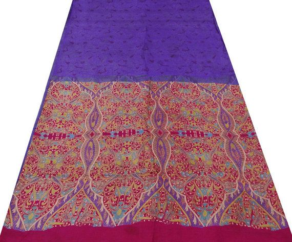 """Vintage Hand made Silk Blend Fabric Sari Floral Printed Paisley Floral Indian Art Purple Saree 5 plus yards  This is a full hand made vintage sari, so you can either wrap yourself up in this decadent fabric, or use it for other decorating purposes. With just over 5 1/2 yards of 43"""" wide fabric a seamstress could work magic with this fabric. Or simply use it as a window treatment or drape over a valance pole to beautify a plain closet or wall.   by TemplesTreasureTrove, $124.95"""