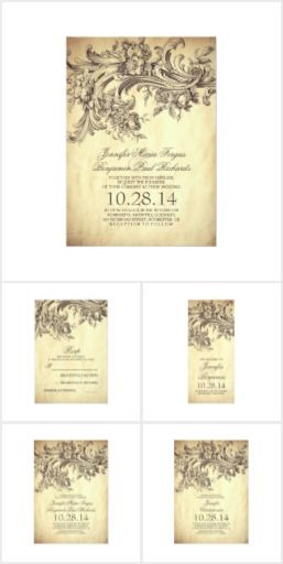 Vintage Floral Swirls Wedding Set  Romantic vintage style wedding invitations, RSVP cards, program cards, save the date cards, engagement party invitations, rehearsal dinner invitations, and more with shabby flourishes, swirls and beautiful blooming garden flowers illustration. This design awakens this vintage timeless feeling about your upcoming wedding day. Really fabulous and chic sophisticated floral swirls invites for your unique antique, vintage wedding theme.