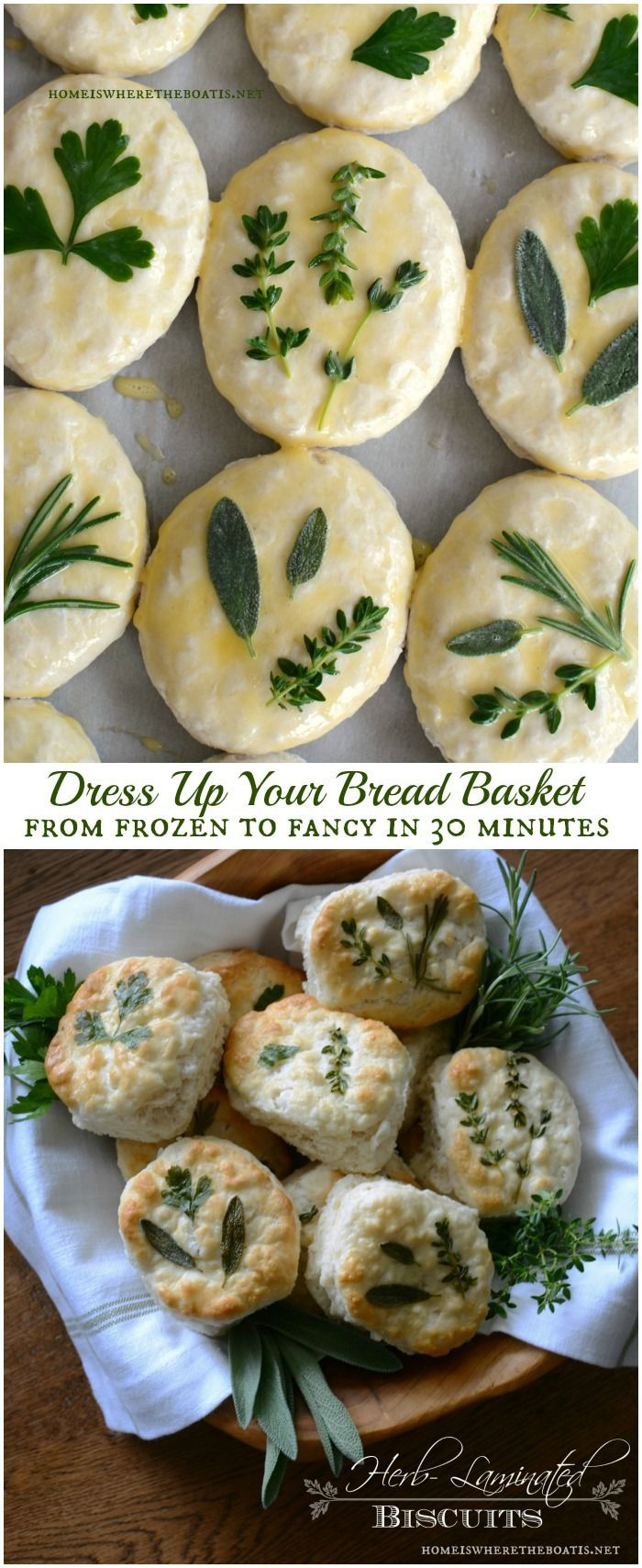 Herb-Laminated Biscuits, an easy technique to dress up your bread basket, from frozen to fancy in 30 minutes!