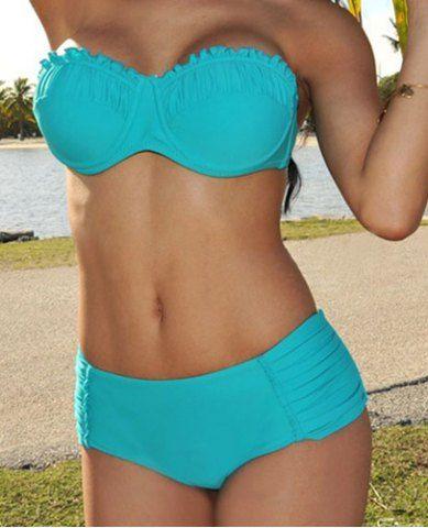 Sexy Halter Solid Color Ruffle Design Women's Bikini SetSwimwear   RoseGal.com