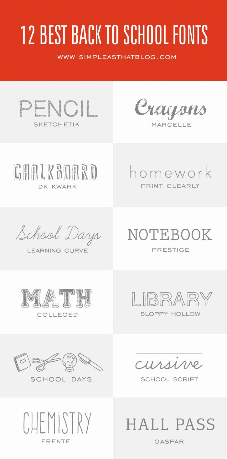 12 of the Best Fonts for Back to School - simple as that