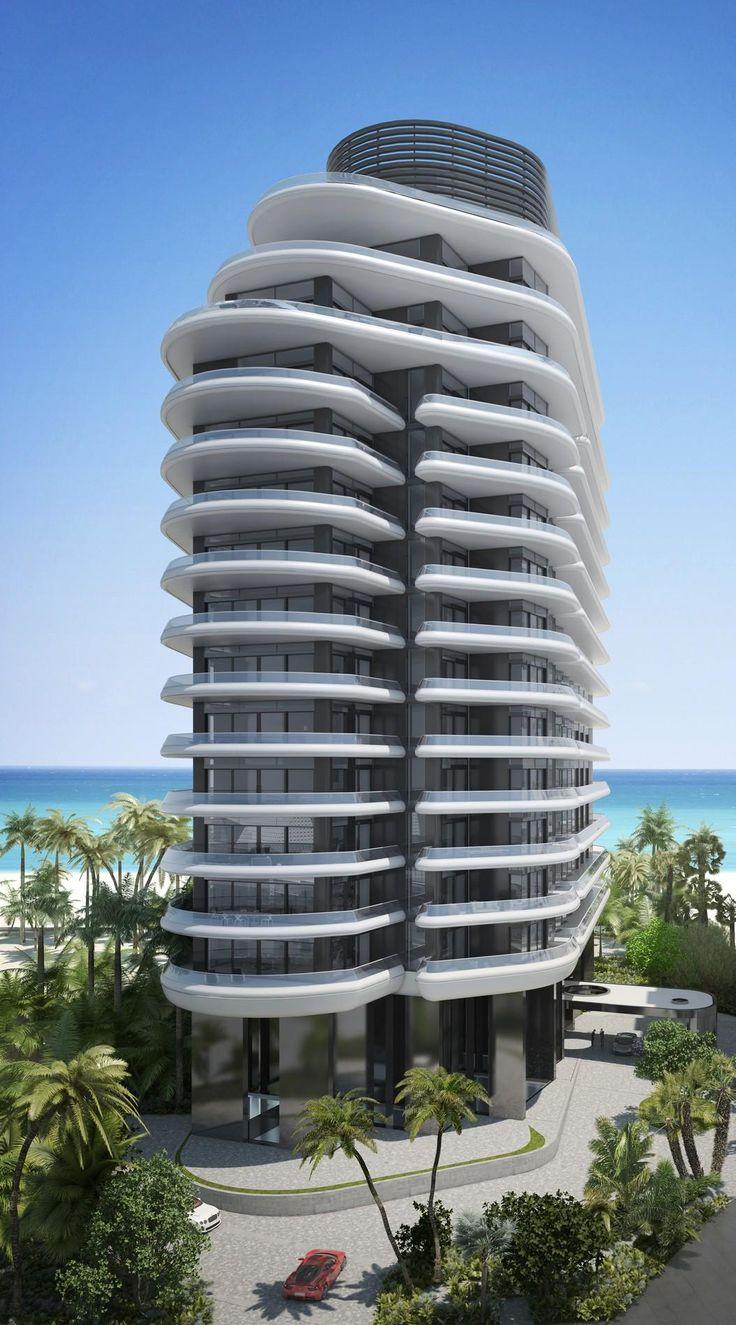Courtesy of Faena Group. Edificio residencial en Miami. Obra contemporánea con perfiles de formas curvas orgánicas.
