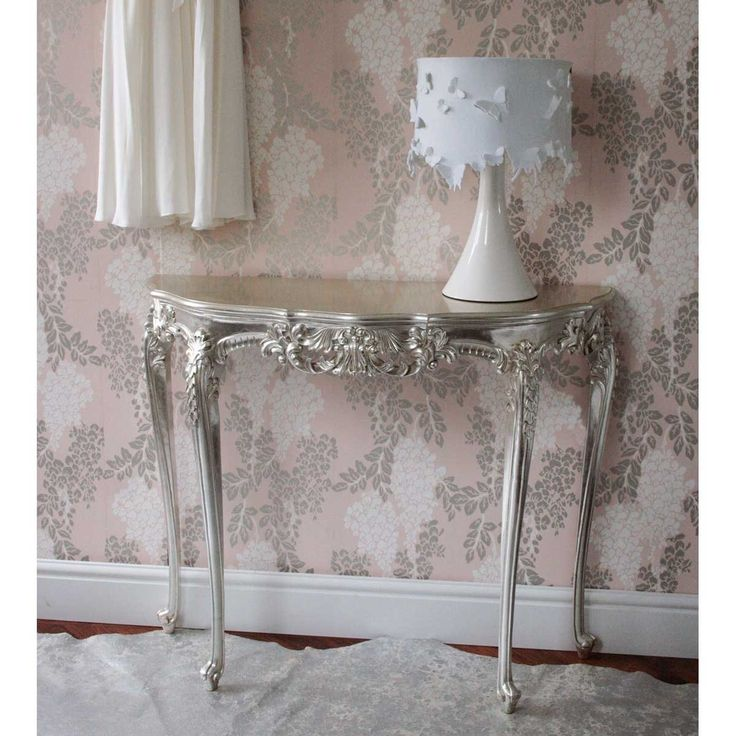 Sylvia Silver Console Table | Silver French Furniture - Metallic silver French table