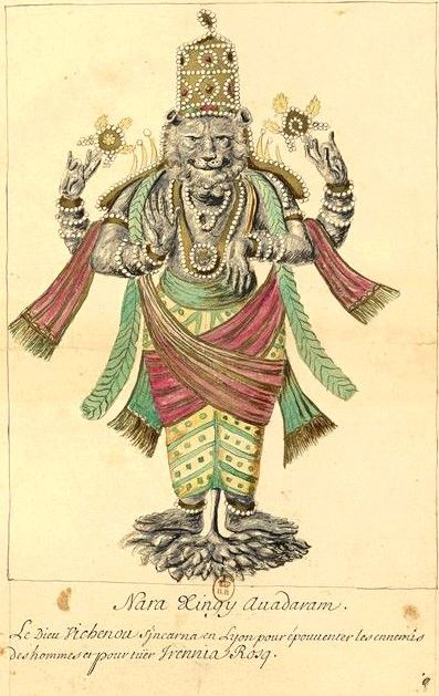 Narasimha, from series painted by French missionaries, 18th century. Bibliotheque de France.