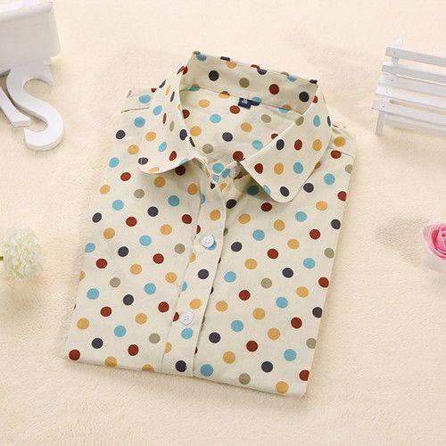 New Long Sleeve Polka Dot Shirt for Women