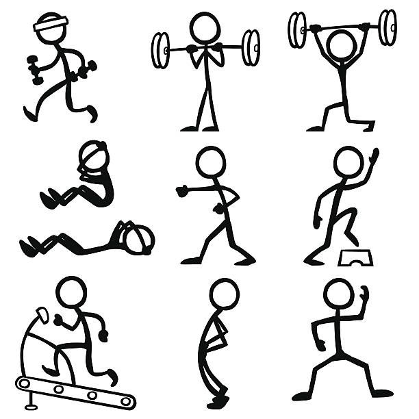 Stickfigure Doing Fitness Related Activities Clases De Dibujo Figura Con Palos Notas De Dibujo