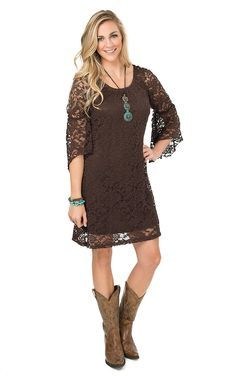 Jody Women's Brown Lace 3/4 Bell Sleeve Dress | Cavender's. I want one of my brides maid dress made like this but in a light brown color