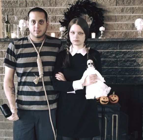 A very perky Wednesday and Pugsley Addams: