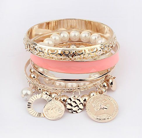 6PCS Of Chic Style Pearl and Coin Shape Pendants Design Women's Openwork Bracelets, DEEP PINK in Bracelets
