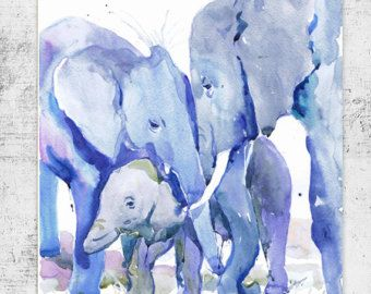Art Baby Elephant Watercolor PaintingNeutral Nursery by ValrArt